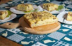 Κομμάτια του κέικ με τα αχλάδια και τη σοκολάτα Στοκ Φωτογραφία
