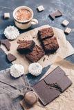Κομμάτια του κέικ σοκολάτας με τον καφέ, φραγμός σοκολάτας, μαρέγκα Στοκ Φωτογραφία