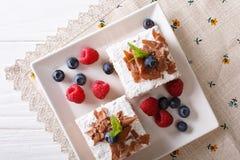 Κομμάτια του κέικ σοκολάτας με την κινηματογράφηση σε πρώτο πλάνο μούρων σε ένα πιάτο Horiz Στοκ εικόνες με δικαίωμα ελεύθερης χρήσης