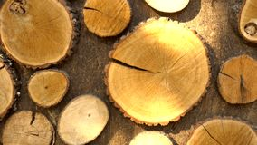 Κομμάτια του ξύλου στον τοίχο απόθεμα βίντεο