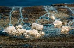 Κομμάτια του πάγου που λειώνει σε έναν βράχο όχθεων της λίμνης Στοκ Φωτογραφίες