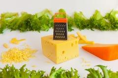 Κομμάτια των τυριών των διαφορετικών γούστων, ξυμένο τυρί, σχάρα μετάλλων για την προετοιμασία του ξυμένων τυριού και των φύλλων  Στοκ φωτογραφία με δικαίωμα ελεύθερης χρήσης