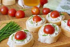 Κομμάτια ψωμιού το λαχανικό που διαδίδονται με, το φρέσκο κρεμμύδι και τις ντομάτες Στοκ εικόνα με δικαίωμα ελεύθερης χρήσης