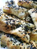 Κομμάτια Cutted lavash με τα λαχανικά Burek με το σπανάκι και το τυρί και το μαύρο κύμινο Yufka στοκ φωτογραφία με δικαίωμα ελεύθερης χρήσης