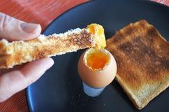 Κομμάτι βύθισης της φρυγανιάς στο ανοικτό μαλακό βρασμένο αυγό Στοκ φωτογραφίες με δικαίωμα ελεύθερης χρήσης