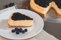 Κομμάτι εύγευστο cheesecake βακκινίων φρεσκάδας στο πιάτο στοκ εικόνα