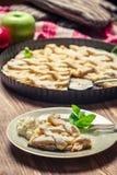 Κομμάτι της πίτας μήλων με την κρέμα Στοκ Εικόνες