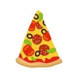 Κομμάτι της πίτσας στην άσπρη ανασκόπηση Ντομάτες και τυρί λουκάνικων απεικόνιση αποθεμάτων