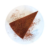 Κομμάτι της τοπ άποψης κέικ σοκολάτας στο μαρμάρινο πιάτο που απομονώνεται στο λευκό Στοκ εικόνες με δικαίωμα ελεύθερης χρήσης