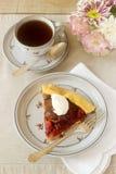 Κομμάτι του δαμάσκηνου galett με την κρέμα και το τσάι Επιδόρπιο Αγροτικό ύφος, εκλεκτική εστίαση Στοκ Εικόνες