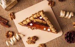 Κομμάτι του κέικ μπισκότων με τη σοκολάτα Στοκ Εικόνα