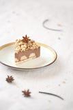 Κομμάτι του πικάντικου Mousse σοκολάτας κέικ με το θίχουλο στοκ εικόνες