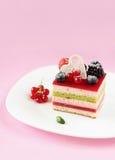 Κομμάτι του πολυστρωματικού Mousse μούρων και φυστικιών κέικ στοκ εικόνα