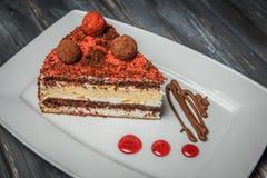 Κομμάτι του σπιτικού κέικ μούρων στο ξύλινο υπόβαθρο Στοκ εικόνες με δικαίωμα ελεύθερης χρήσης