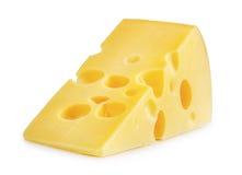 Κομμάτι του τυριού που απομονώνεται Στοκ Φωτογραφία