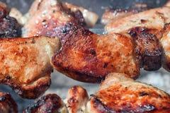 Κομμάτι του ψημένου στη σχάρα κρέατος του χοιρινού κρέατος με το κόκκινο μαγείρεμα κινηματογραφήσεων σε πρώτο πλάνο κρουστών στοκ φωτογραφίες με δικαίωμα ελεύθερης χρήσης
