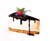 Κομμάτι Watercolor του κέικ Στοκ φωτογραφία με δικαίωμα ελεύθερης χρήσης
