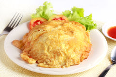 Κομματιάστε την ομελέτα χοιρινού κρέατος με το ταϊλανδικό ύφος ρυζιού, δημοφιλή τοπικά τρόφιμα στο θόριο Στοκ εικόνες με δικαίωμα ελεύθερης χρήσης