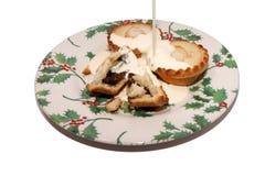 Κομματιάστε τις πίτες που καλύπτονται στην κρέμα στο εορταστικό πιάτο στοκ φωτογραφίες