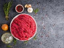 Κομματιάστε το βόειο κρέας, επίγειο κρέας με τα συστατικά για το μαγείρεμα στο σκοτεινό gra στοκ εικόνα με δικαίωμα ελεύθερης χρήσης
