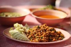 Κομματιασμένο χοιρινό κρέας με το λαχανικό στοκ φωτογραφία με δικαίωμα ελεύθερης χρήσης