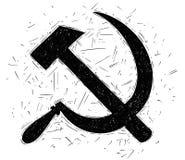 Κομμουνιστικό σφυρί συμβόλων και διανυσματικό σχέδιο δρεπανιών Στοκ εικόνα με δικαίωμα ελεύθερης χρήσης