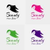 Κομμωτήριο κοριτσιών ομορφιάς με την όμορφη διανυσματική σκιαγραφία λογότυπων κοριτσιών Στοκ εικόνες με δικαίωμα ελεύθερης χρήσης