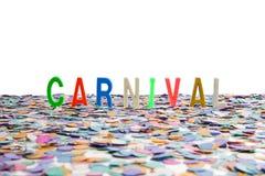 Κομφετί και κείμενο καρναβαλιού Στοκ φωτογραφία με δικαίωμα ελεύθερης χρήσης