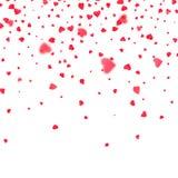 Κομφετί καρδιών Ανασκόπηση για την ημέρα βαλεντίνων Πετώντας καρδιές βαλεντίνων Στοκ Εικόνα
