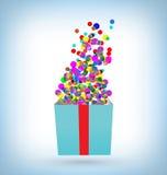 Κομφετί με το κιβώτιο δώρων στο μπλε ελεύθερη απεικόνιση δικαιώματος