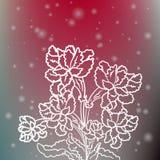 Κομψά λαμπιρίζοντας λουλούδια στο θολωμένο υπόβαθρο διανυσματική απεικόνιση