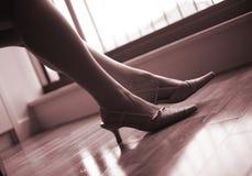 Κομψά γυναικεία πόδια και πόδια Στοκ εικόνα με δικαίωμα ελεύθερης χρήσης