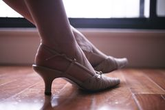 Κομψά γυναικεία πόδια και πόδια Στοκ φωτογραφίες με δικαίωμα ελεύθερης χρήσης