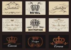 Κομψά εκλεκτής ποιότητας σχέδια που τίθενται για τα λογότυπα πολυτέλειας, εστιατόριο, επιλογές, Στοκ Εικόνες