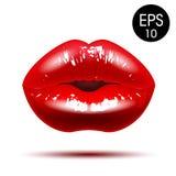 Κομψά κόκκινα χείλια επίσης corel σύρετε το διάνυσμα απεικόνισης Στοκ Εικόνες