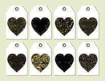 Κομψές διανυσματικές ετικέττες με τις καρδιές διανυσματική απεικόνιση