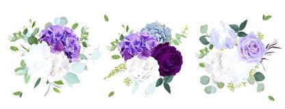 Κομψές εποχιακές σκοτεινές γαμήλιες ανθοδέσμες σχεδίου λουλουδιών διανυσματικές απεικόνιση αποθεμάτων