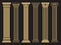 Κομψές κλασικές ρωμαϊκές, ελληνικές γραμμή αρχιτεκτονικής και στήλες σκιαγραφιών ελεύθερη απεικόνιση δικαιώματος