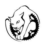 Κομψή γάτα και η ρόδα εργαλείων Στοκ εικόνα με δικαίωμα ελεύθερης χρήσης