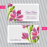 Κομψή επαγγελματική κάρτα με την ανθοδέσμη των λουλουδιών Στοκ φωτογραφία με δικαίωμα ελεύθερης χρήσης