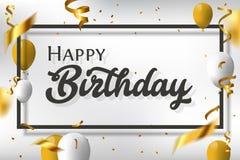 Κομψή ευχετήρια κάρτα γενεθλίων με τα μπαλόνια αέρα στοκ εικόνες