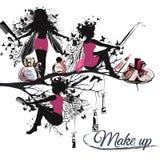 Κομψή διανυσματική απεικόνιση με το μπουκάλι αρώματος και το στιλίστα κοριτσιών Στοκ εικόνα με δικαίωμα ελεύθερης χρήσης