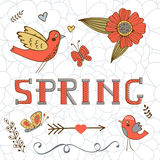Κομψή κάρτα άνοιξη με μια άνοιξη, τα πουλιά, τα λουλούδια και τις πεταλούδες λέξης Στοκ φωτογραφίες με δικαίωμα ελεύθερης χρήσης