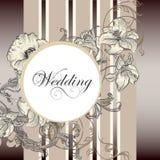 Κομψή κάρτα γαμήλιας πρόσκλησης με τα λουλούδια Στοκ Εικόνες
