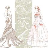 Κομψή κάρτα γαμήλιας πρόσκλησης με τη νύφη στο χρώμα κρητιδογραφιών Στοκ εικόνα με δικαίωμα ελεύθερης χρήσης