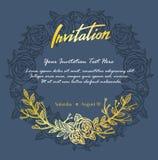 Κομψή κάρτα πρόσκλησης με το αφηρημένο Floral υπόβαθρο διανυσματική απεικόνιση