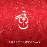 Κομψή κάρτα Χριστουγέννων με έναν συμβολικό χιονάνθρωπο Στοκ Φωτογραφίες