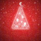 Κομψή κάρτα Χριστουγέννων με ένα συμβολικό δέντρο Στοκ Φωτογραφίες