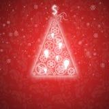 Κομψή κάρτα Χριστουγέννων με ένα συμβολικό δέντρο Στοκ Εικόνα