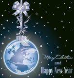 Κομψή κάρτα Χριστουγέννων με την παγκόσμια εορταστική σφαίρα Στοκ Εικόνα